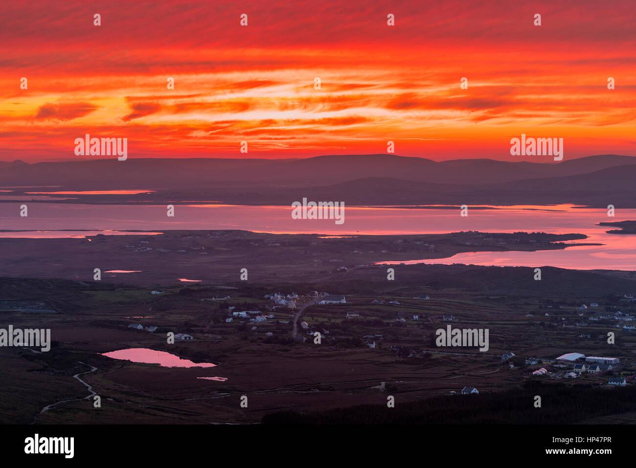 Achill Island seen from Minaun, County Mayo, Ireland, Europe. - Stock Image
