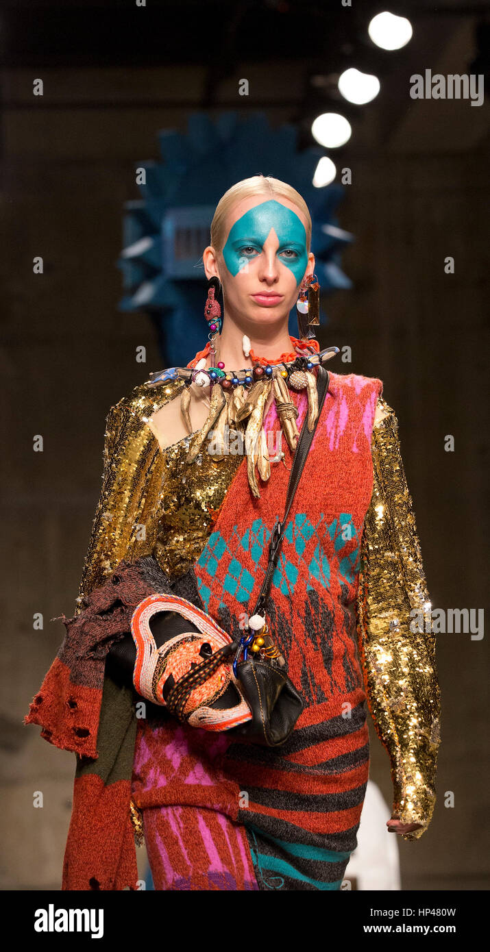 Models during the Matty Bovan Fashion East Autumn/Winter 2017 London Fashion Week show at the Topshop Show Space, - Stock Image