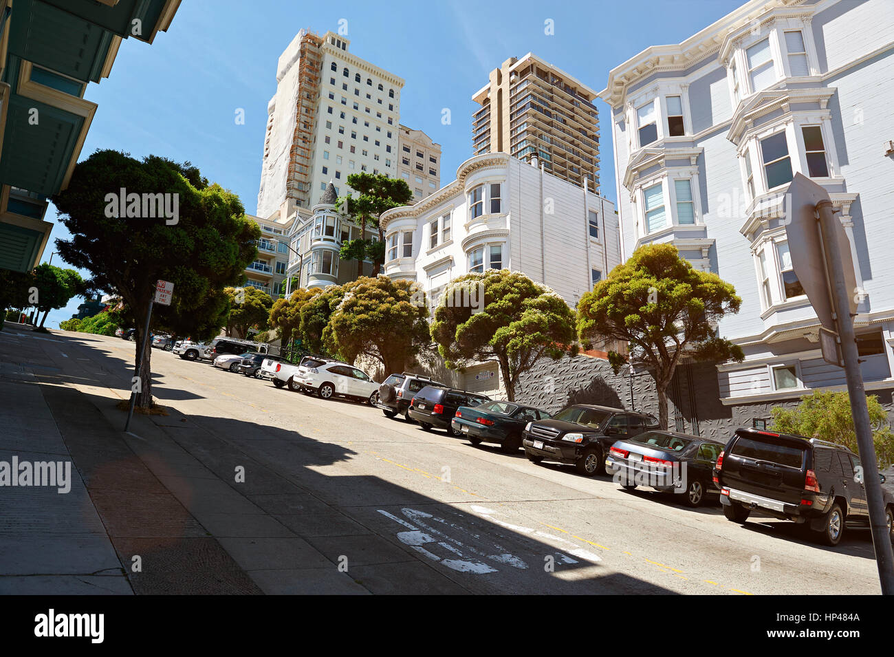 Street in San francisco with road on