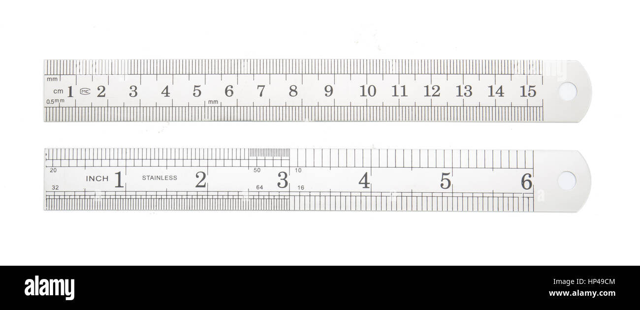 Aluminum ruler isolated with white background - Stock Image