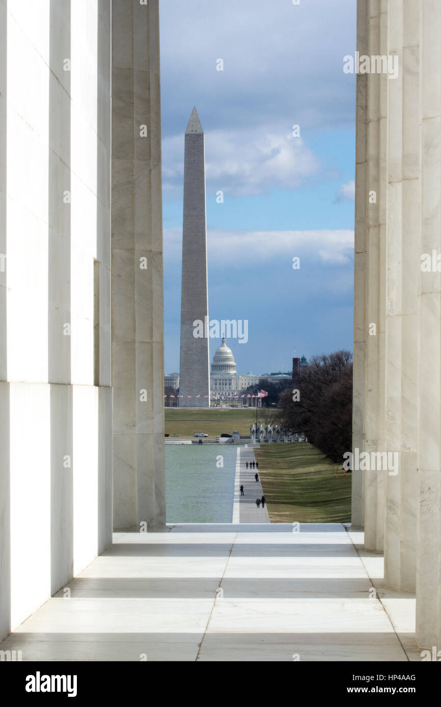U.S. Capitol and Washington Monument seen from the Lincoln Memorial in Washington, DC. - Stock Image