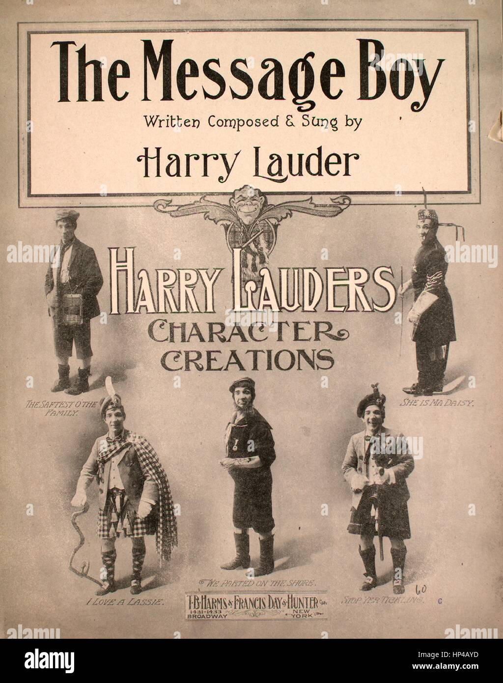 Sheet music cover image of the song 'The Message Boy', with original authorship notes reading 'Written - Stock Image