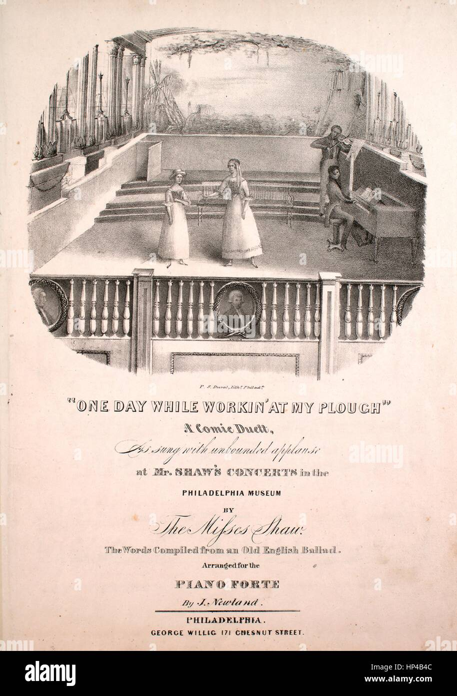 Sheet music cover image of the song 'One Day While Workin' at My Plough A Comic Duett', with original - Stock Image