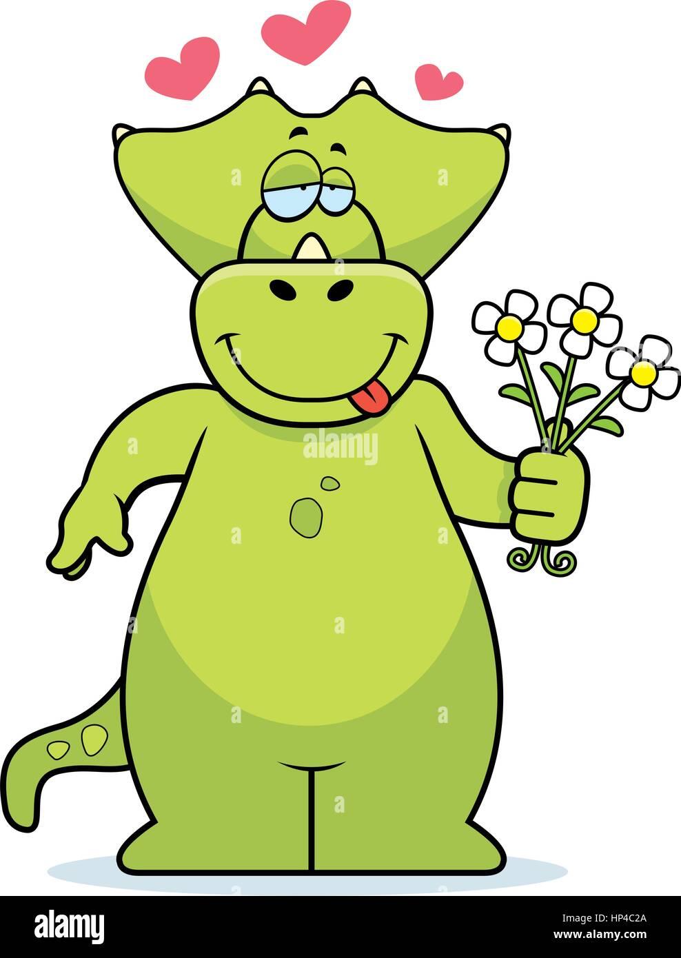 A Happy Cartoon Dinosaur With A Bouquet Of Flowers Stock Vector Art