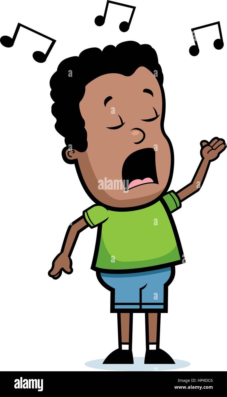 A cartoon young boy singing a song Stock Vector Image & Art - Alamy