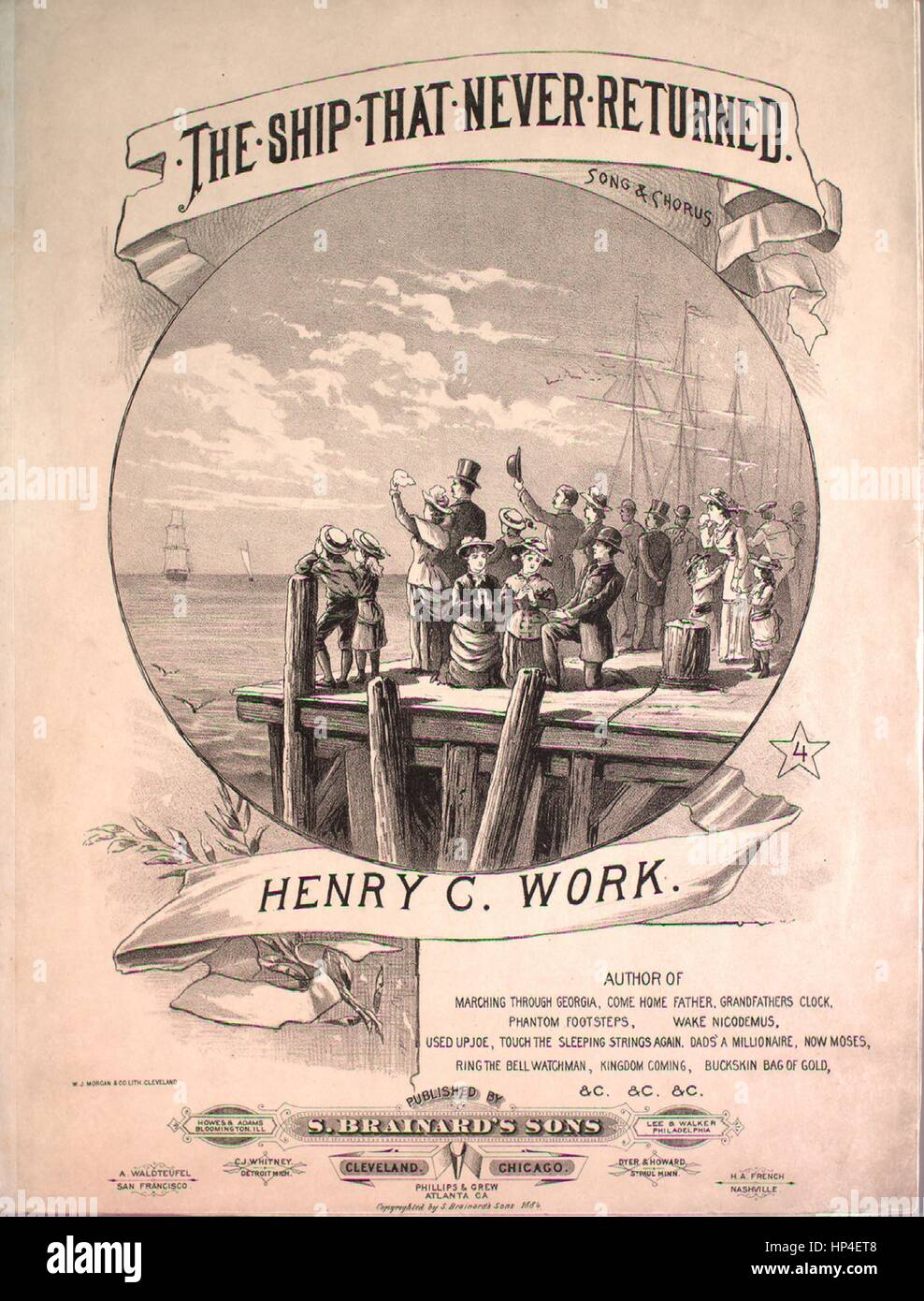 Sheet music cover image of the song 'The Ship That Never Returned Song and Chorus', with original authorship - Stock Image
