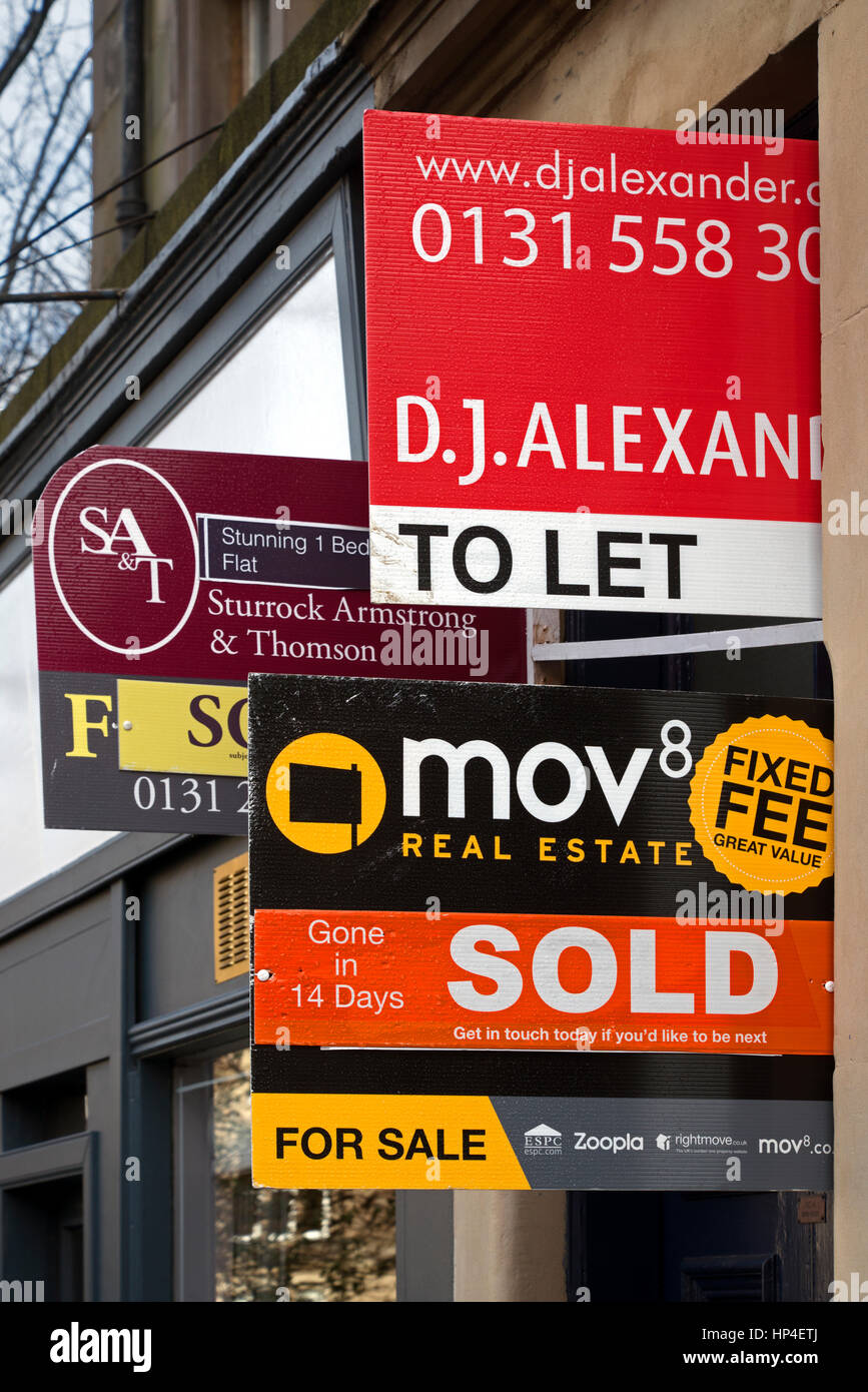 A selection of For sale and To Let signs in Edinburgh, Scotland, UK Stock Photo