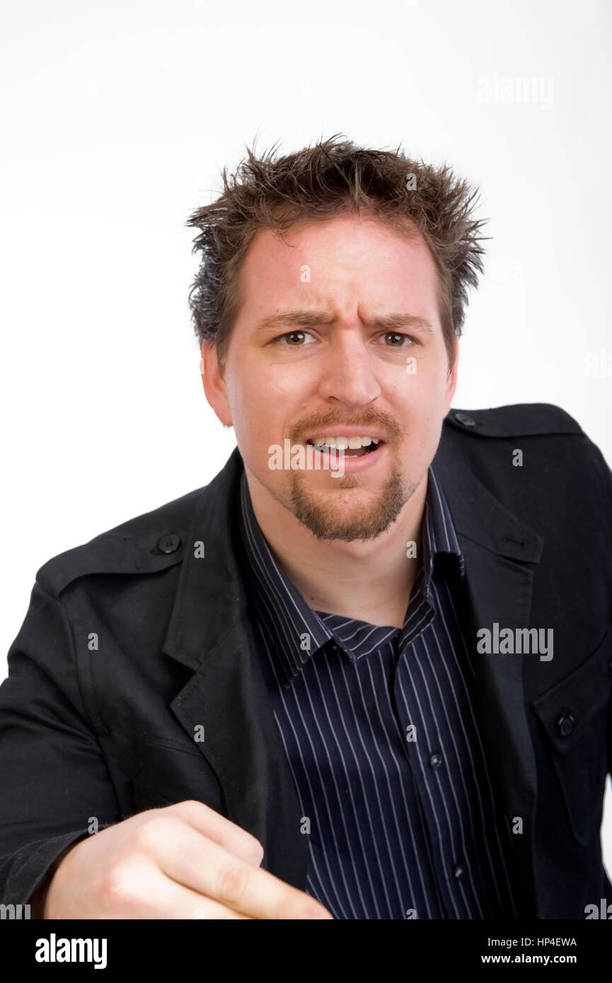 Model released , Genervter, junger Mann gestikuliert - stressed out young man gesticulate Stock Photo