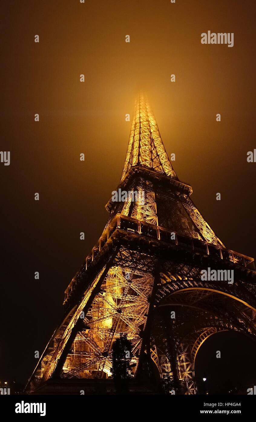 Eiffel Tower At Night Time - Stock Image