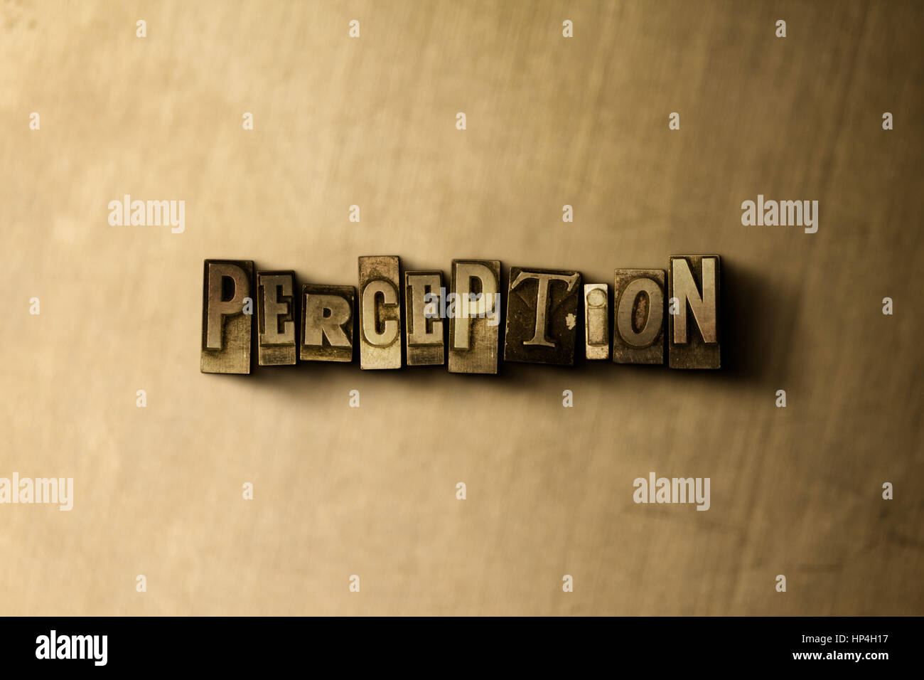 PERCEPTION - close-up of grungy vintage typeset word on metal backdrop. Royalty free stock illustration.  Can be - Stock Image