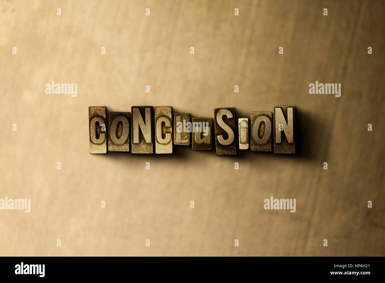 CONCLUSION - close-up of grungy vintage typeset word on metal backdrop. Royalty free stock illustration.  Can be - Stock Image