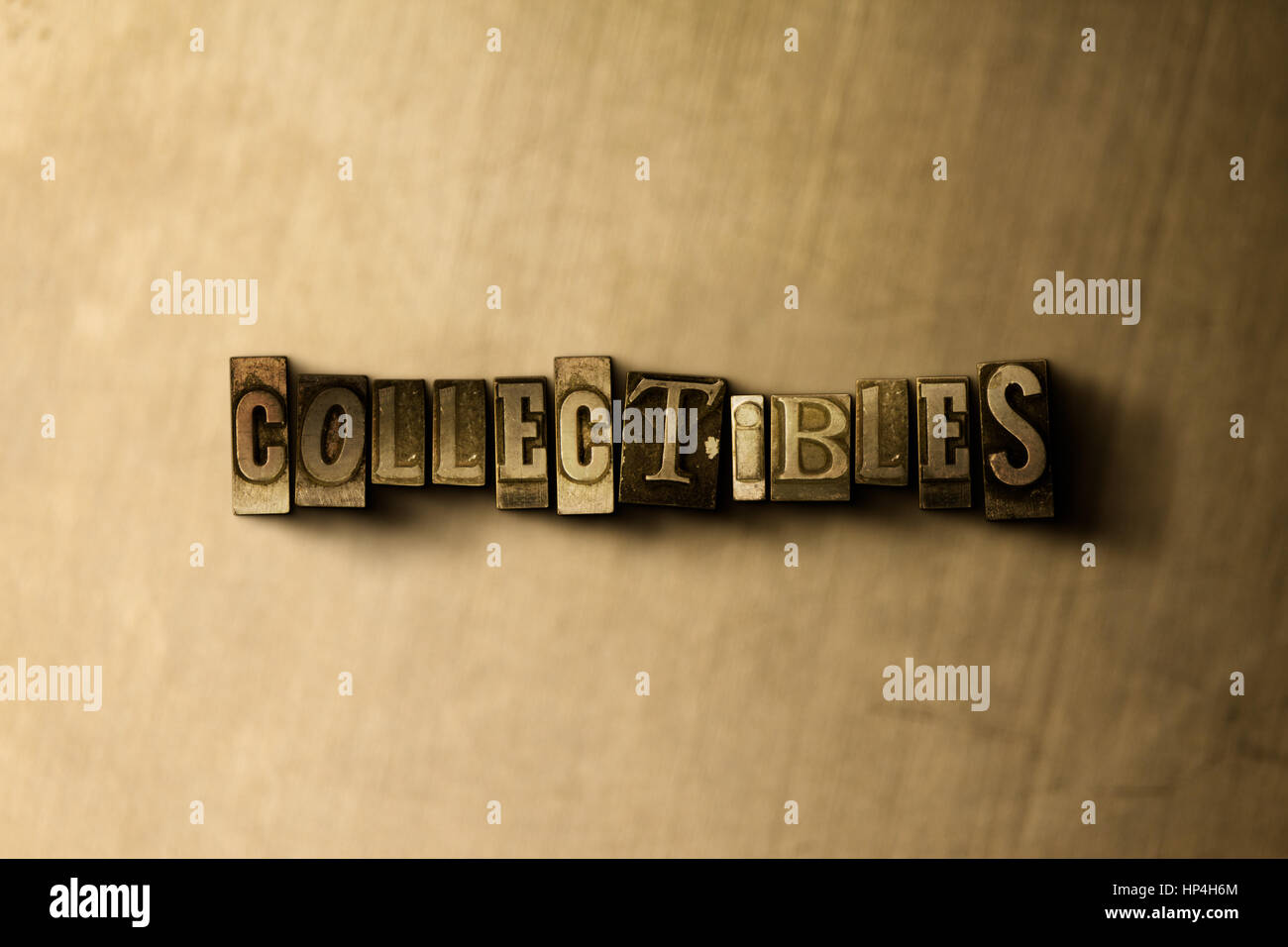 COLLECTIBLES - close-up of grungy vintage typeset word on metal backdrop. Royalty free stock illustration.  Can - Stock Image