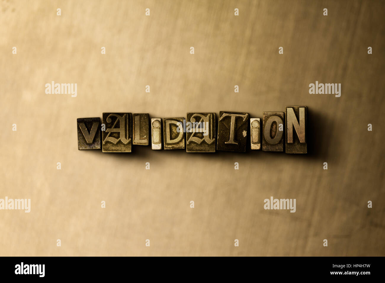 VALIDATION - close-up of grungy vintage typeset word on metal backdrop. Royalty free stock illustration.  Can be - Stock Image
