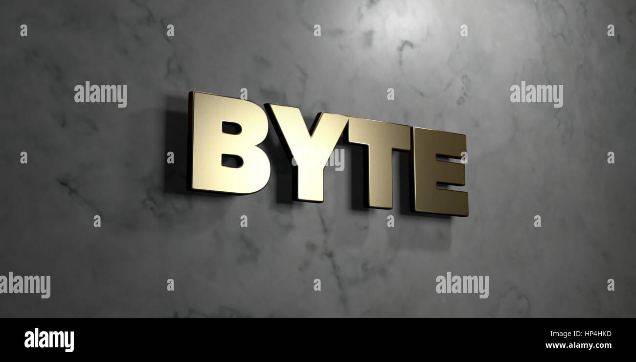 Byte - Gold sign mounted on glossy marble wall  - 3D rendered royalty free stock illustration. This image can be - Stock Image