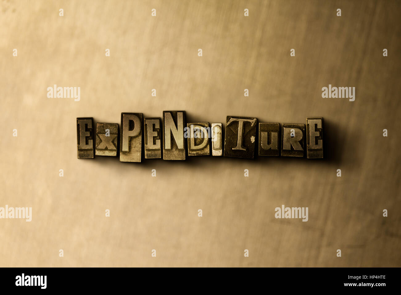 EXPENDITURE - close-up of grungy vintage typeset word on metal backdrop. Royalty free stock illustration.  Can be Stock Photo