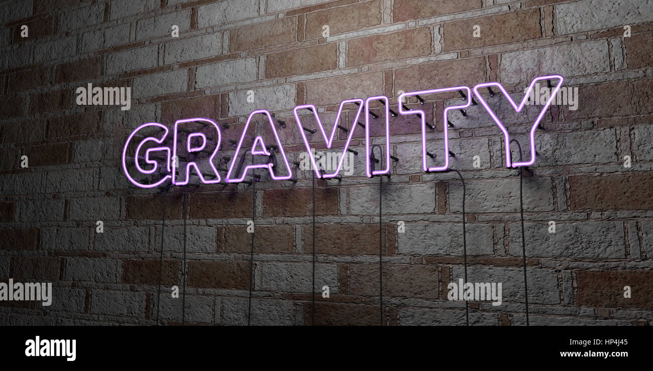 GRAVITY - Glowing Neon Sign on stonework wall - 3D rendered royalty free stock illustration.  Can be used for online - Stock Image