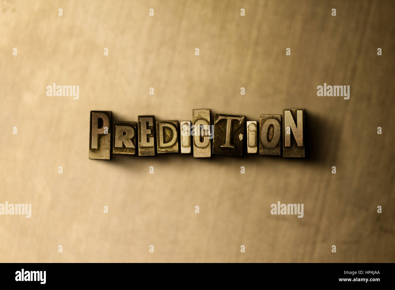 PREDICTION - close-up of grungy vintage typeset word on metal backdrop. Royalty free stock illustration.  Can be - Stock Image