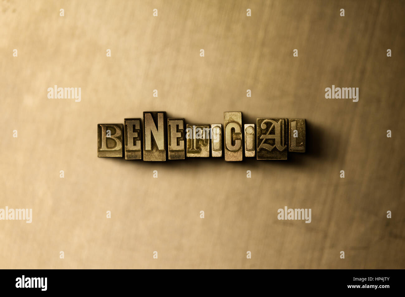 BENEFICIAL - close-up of grungy vintage typeset word on metal backdrop. Royalty free stock illustration.  Can be - Stock Image
