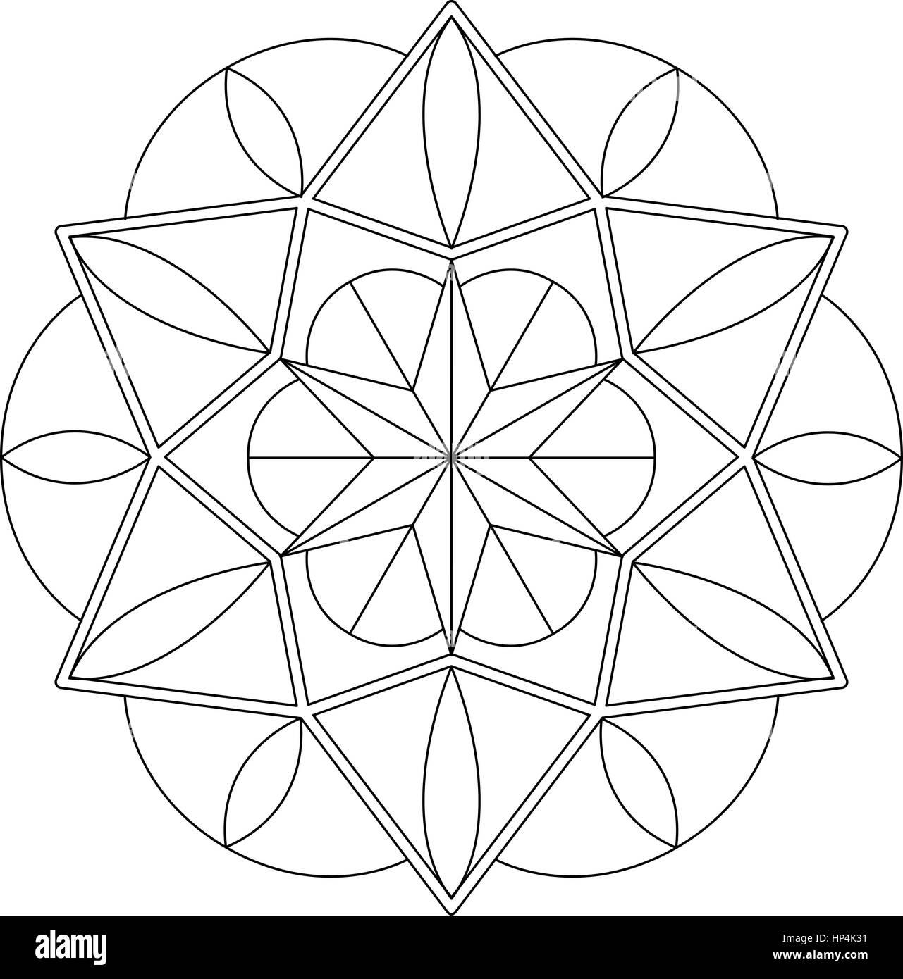 Geometric mandala for coloring - Stock Image