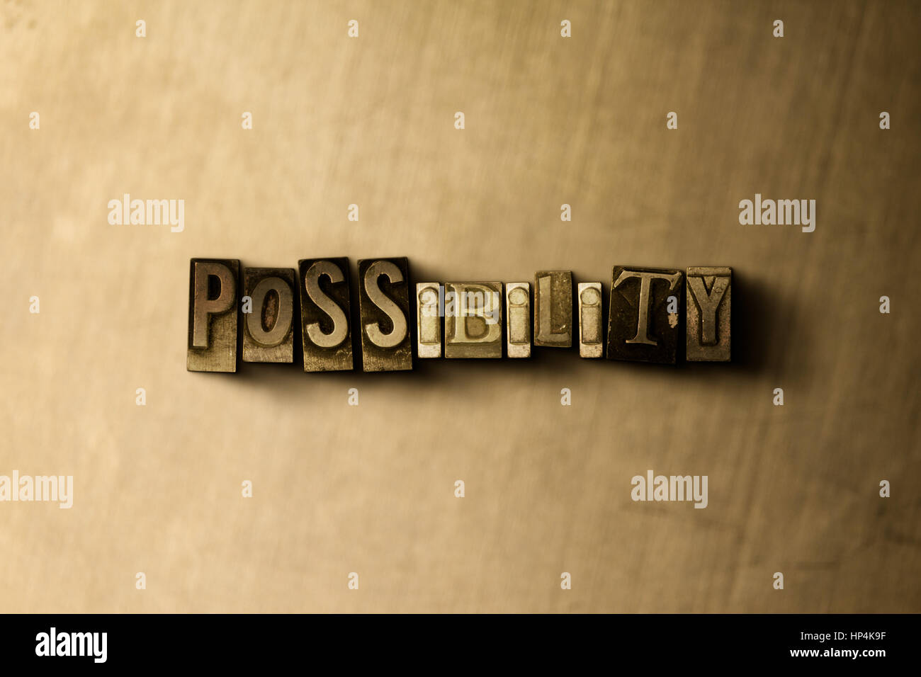 POSSIBILITY - close-up of grungy vintage typeset word on metal backdrop. Royalty free stock illustration.  Can be - Stock Image