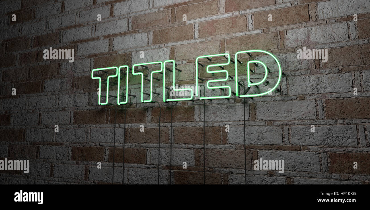 TITLED - Glowing Neon Sign on stonework wall - 3D rendered royalty free stock illustration.  Can be used for online - Stock Image