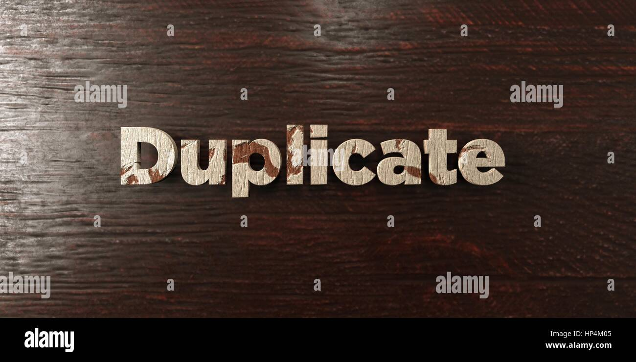 Duplicate - grungy wooden headline on Maple  - 3D rendered royalty free stock image. This image can be used for - Stock Image