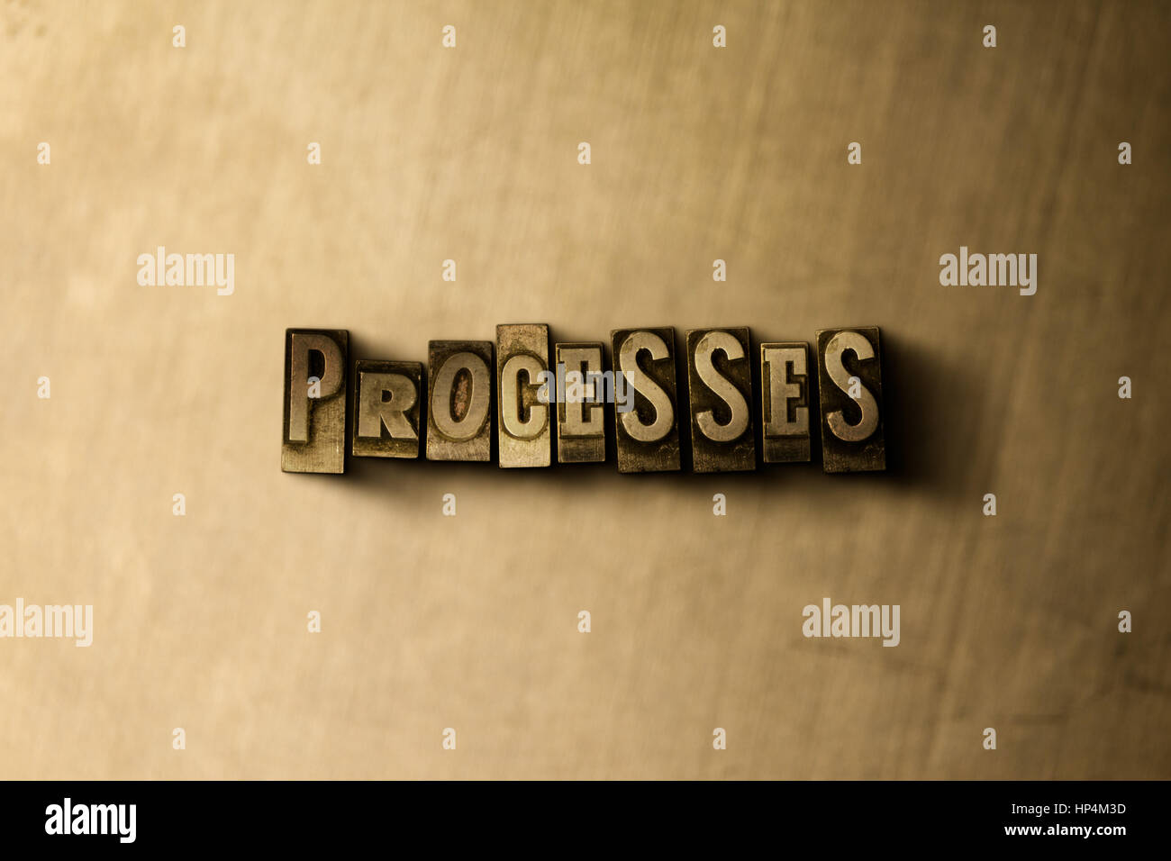 PROCESSES - close-up of grungy vintage typeset word on metal backdrop. Royalty free stock illustration.  Can be - Stock Image