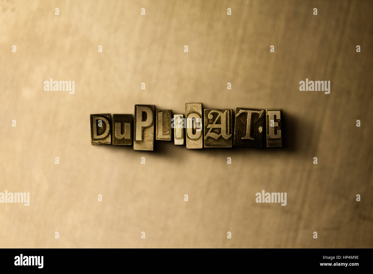 DUPLICATE - close-up of grungy vintage typeset word on metal backdrop. Royalty free stock illustration.  Can be - Stock Image