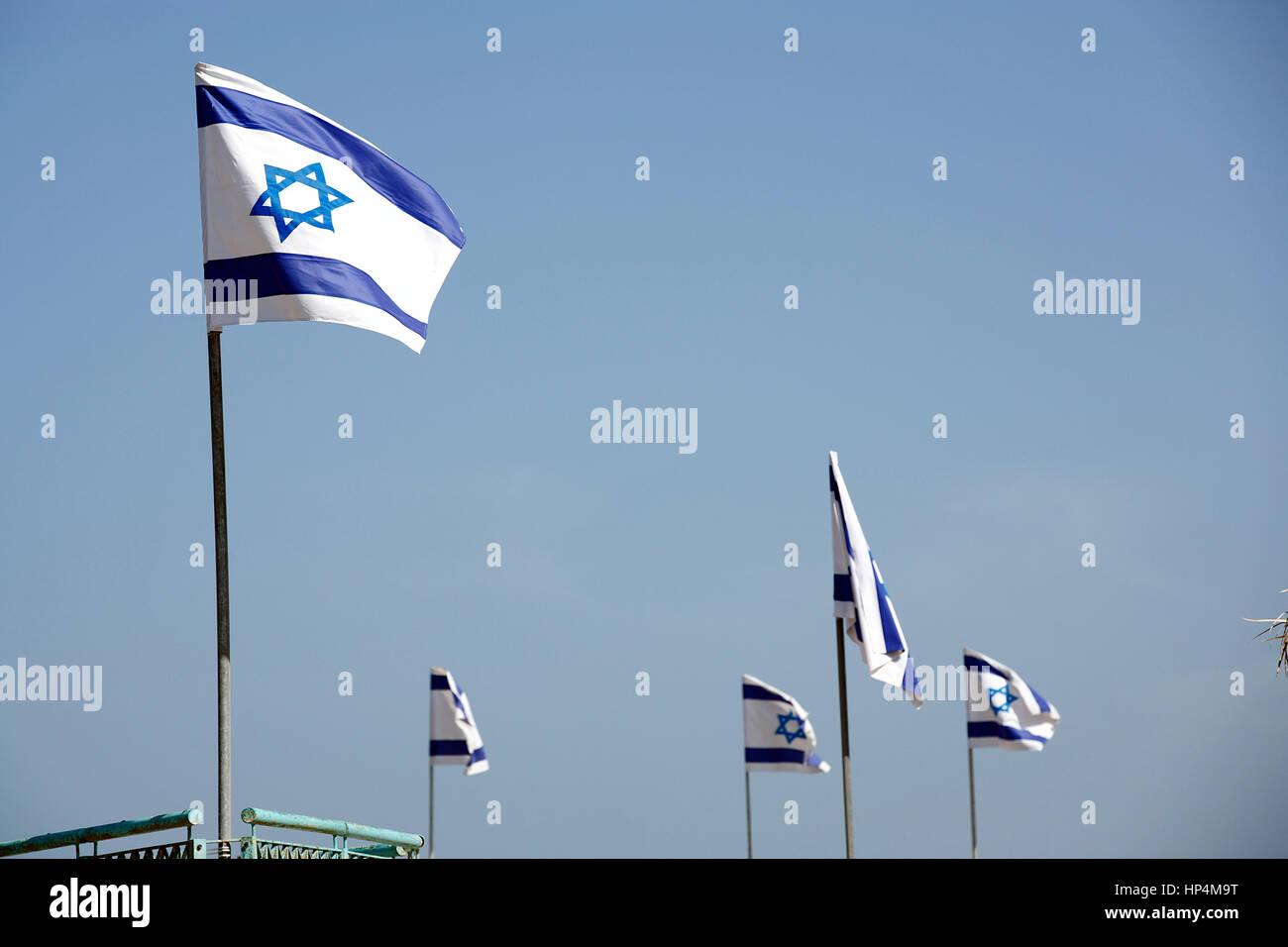flag of israel blowing in the wind, tel aviv, israel Stock Photo