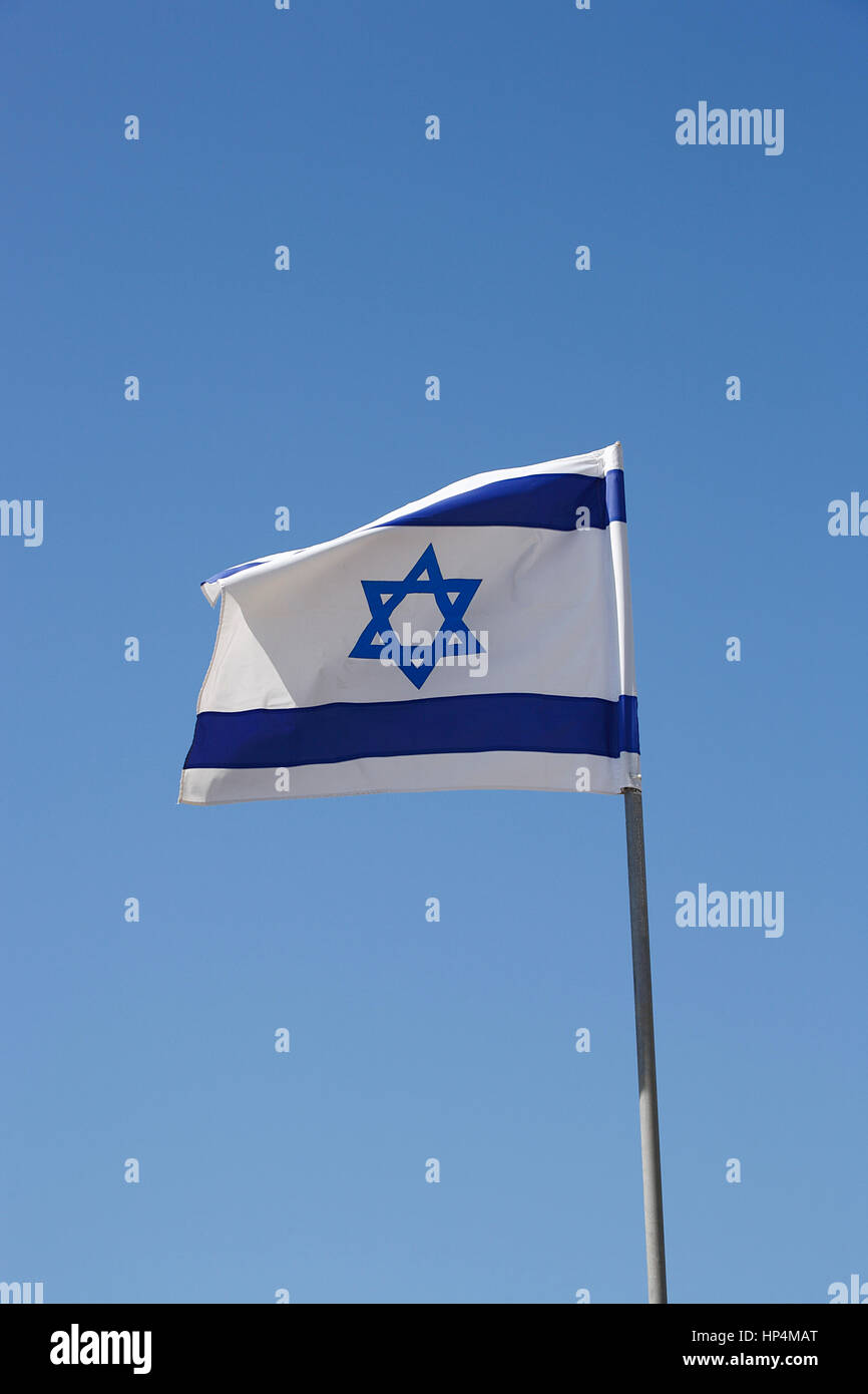flag of israel blowing in the wind, tel aviv, israel Stock Photo