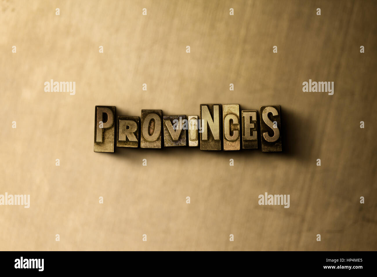 PROVINCES - close-up of grungy vintage typeset word on metal backdrop. Royalty free stock illustration.  Can be - Stock Image