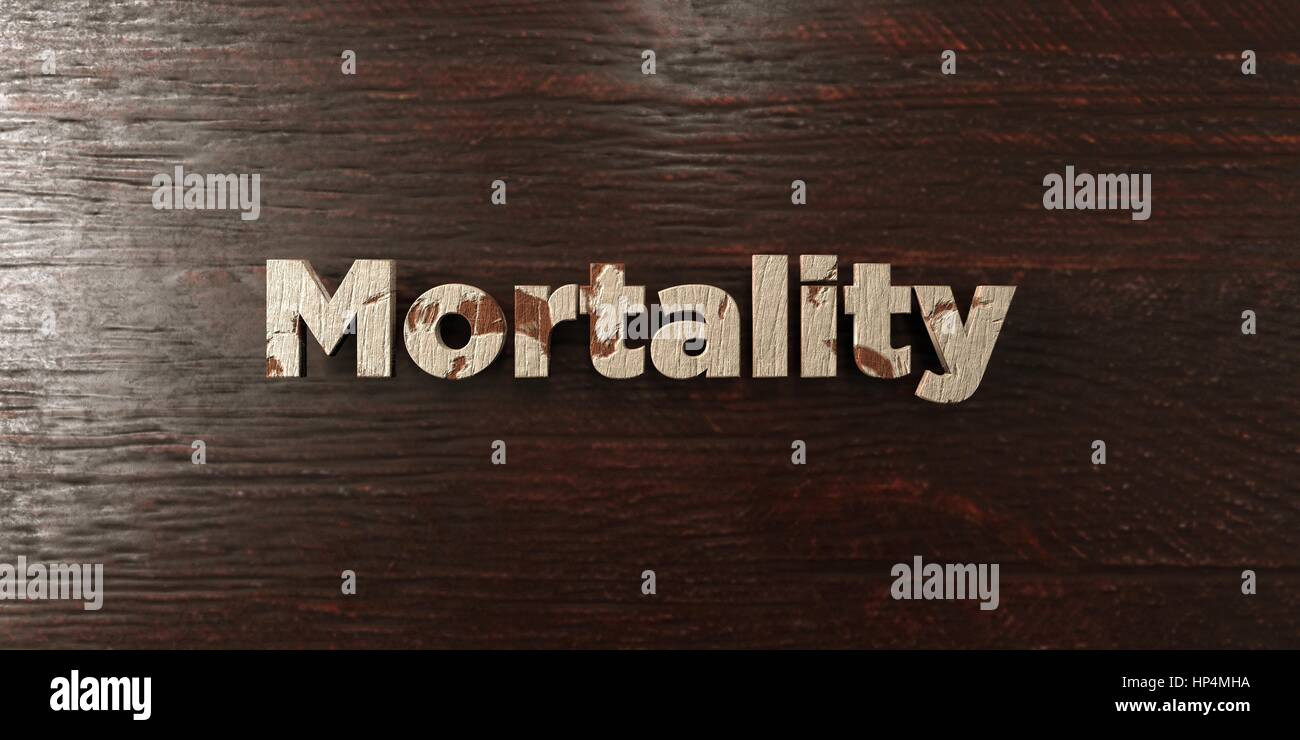 Mortality - grungy wooden headline on Maple  - 3D rendered royalty free stock image. This image can be used for - Stock Image