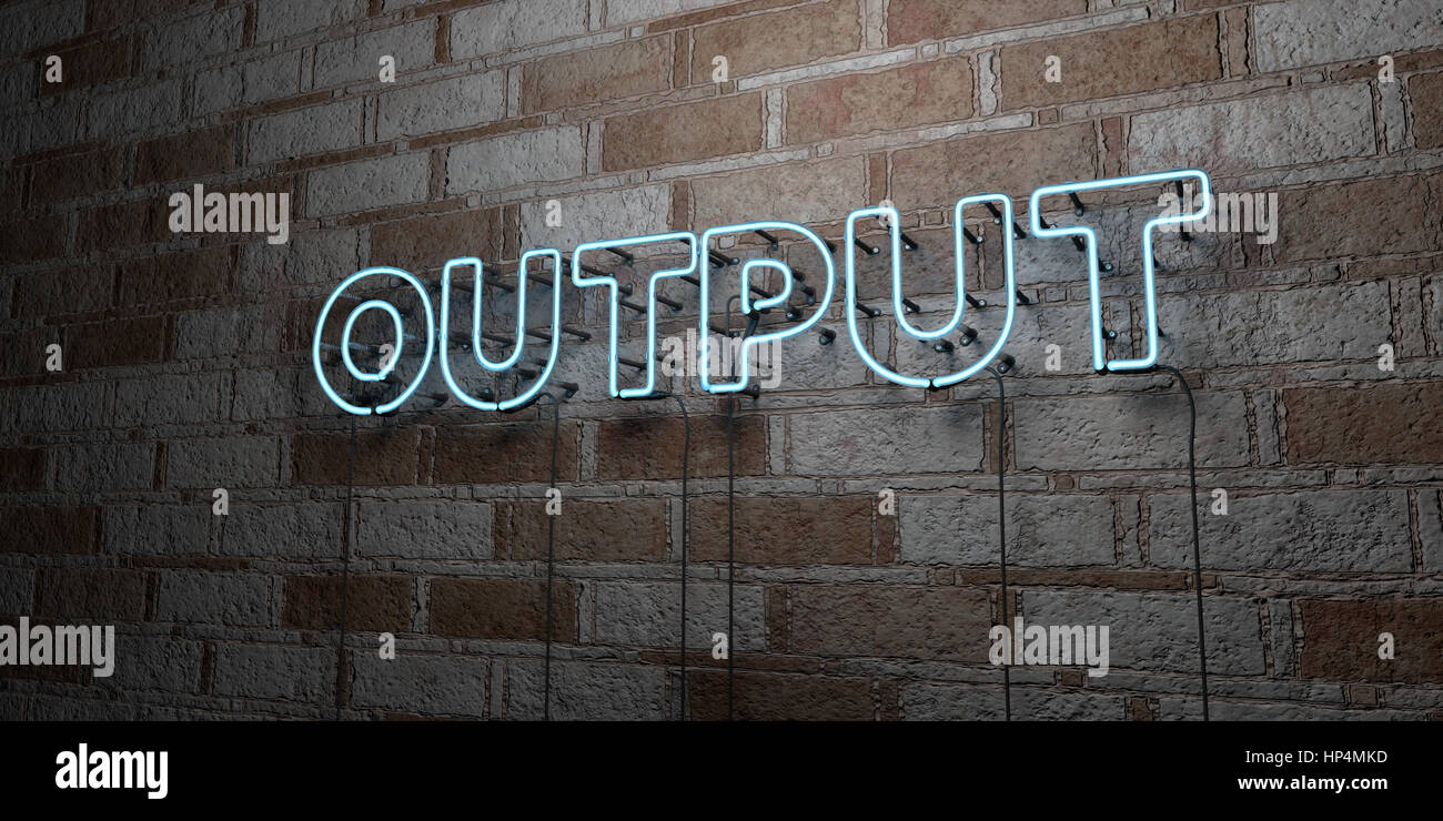OUTPUT - Glowing Neon Sign on stonework wall - 3D rendered royalty free stock illustration.  Can be used for online - Stock Image