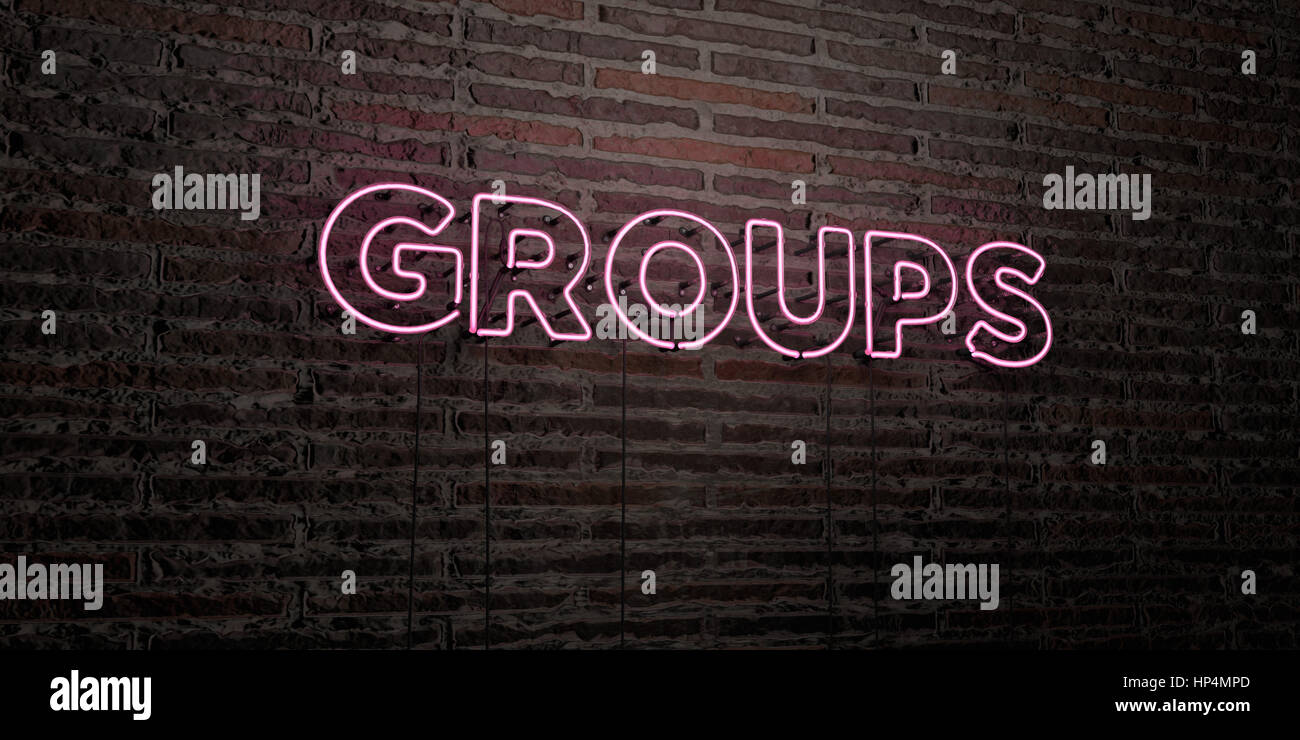 GROUPS -Realistic Neon Sign on Brick Wall background - 3D rendered royalty free stock image. Can be used for online - Stock Image