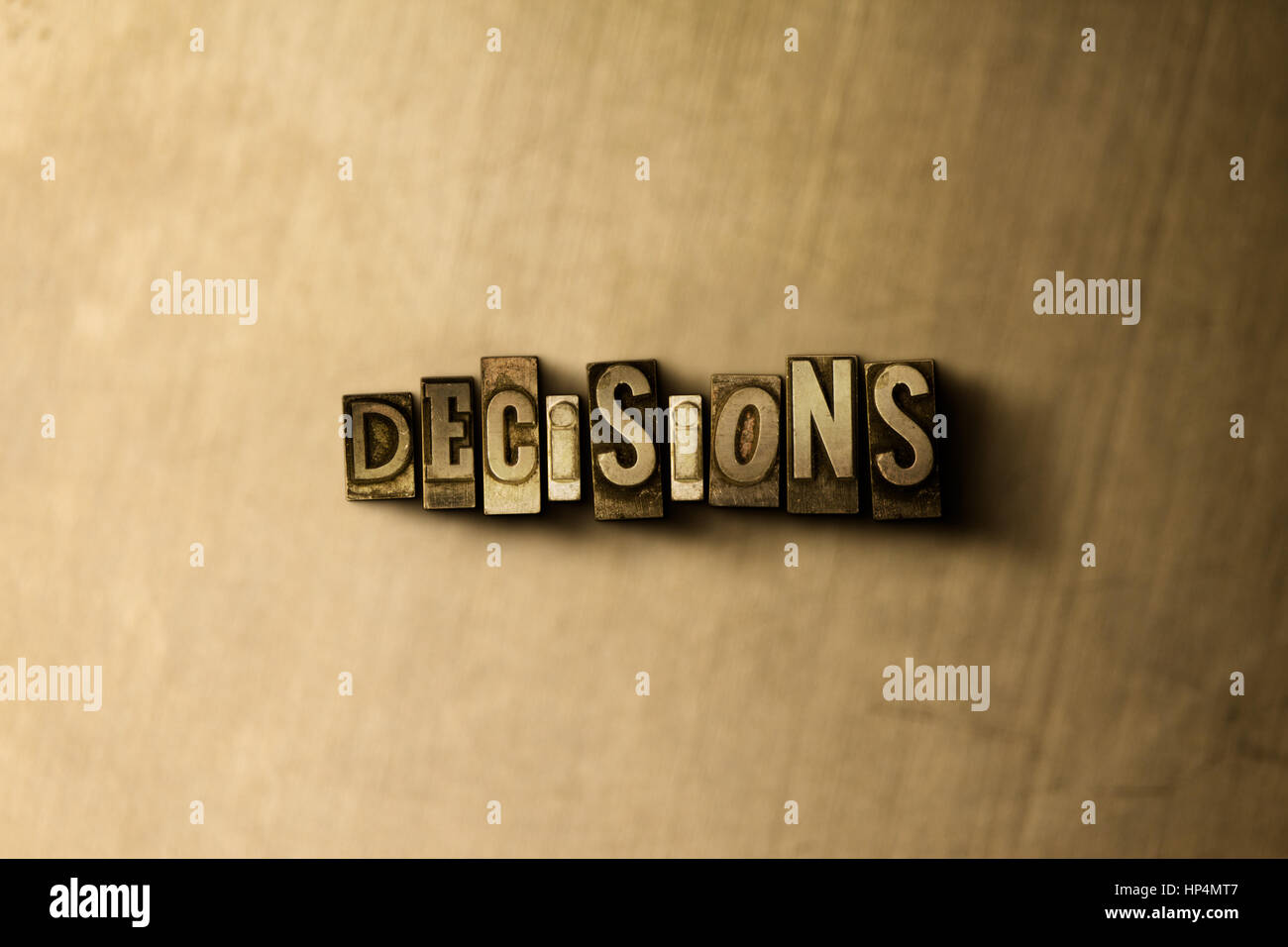 DECISIONS - close-up of grungy vintage typeset word on metal backdrop. Royalty free stock illustration.  Can be - Stock Image