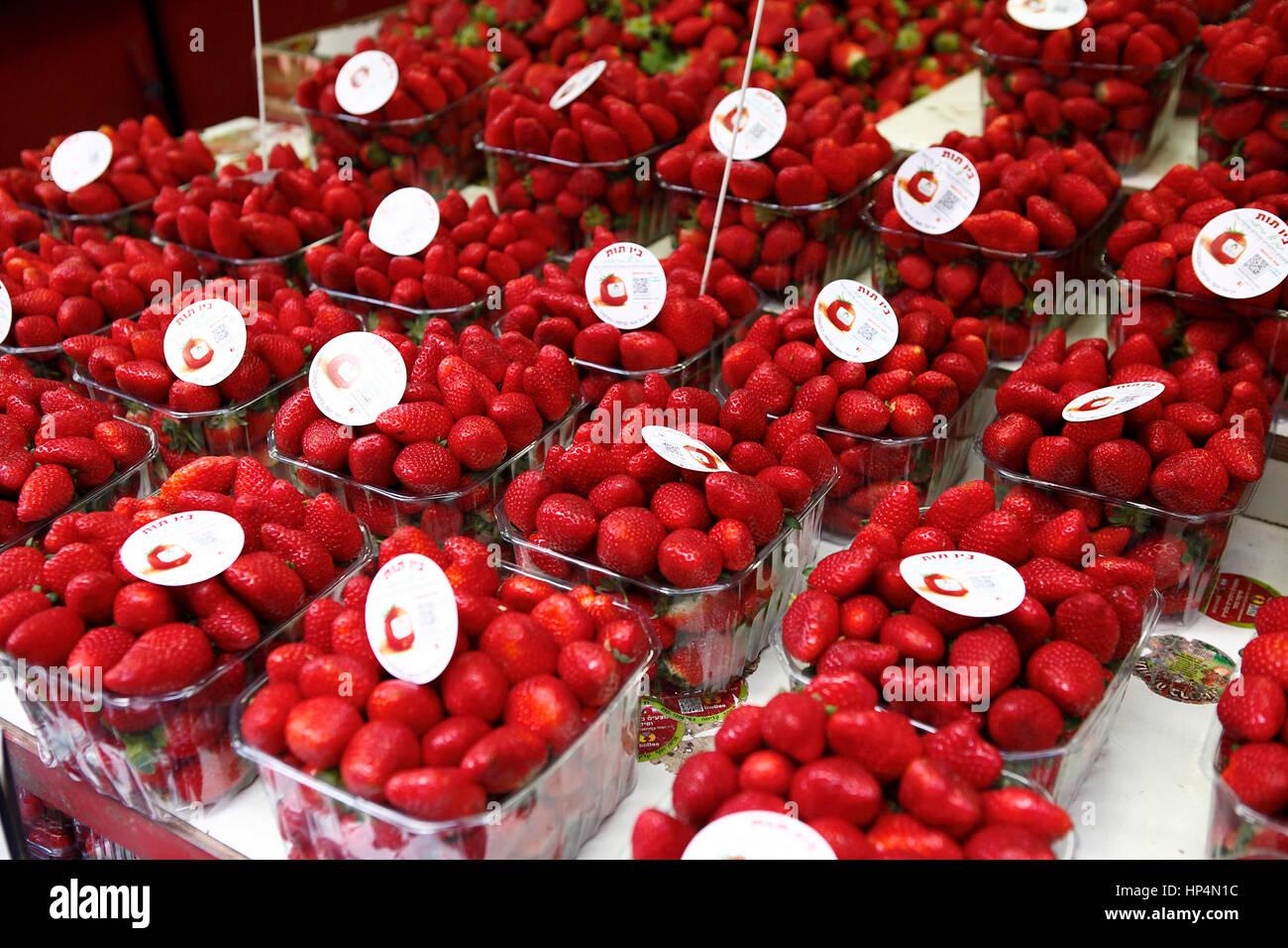 close up fresh israeli strawberries at shop at carmel market, tel aviv, israel Stock Photo