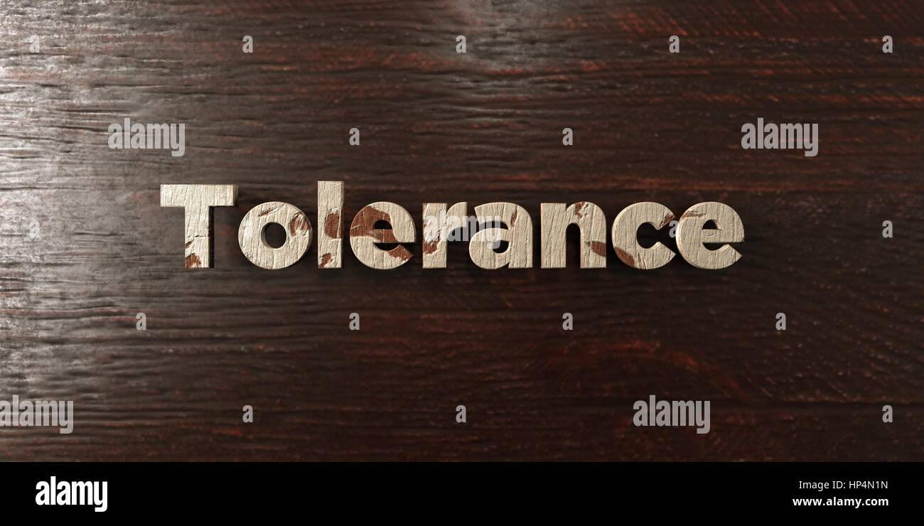 Tolerance - grungy wooden headline on Maple  - 3D rendered royalty free stock image. This image can be used for - Stock Image
