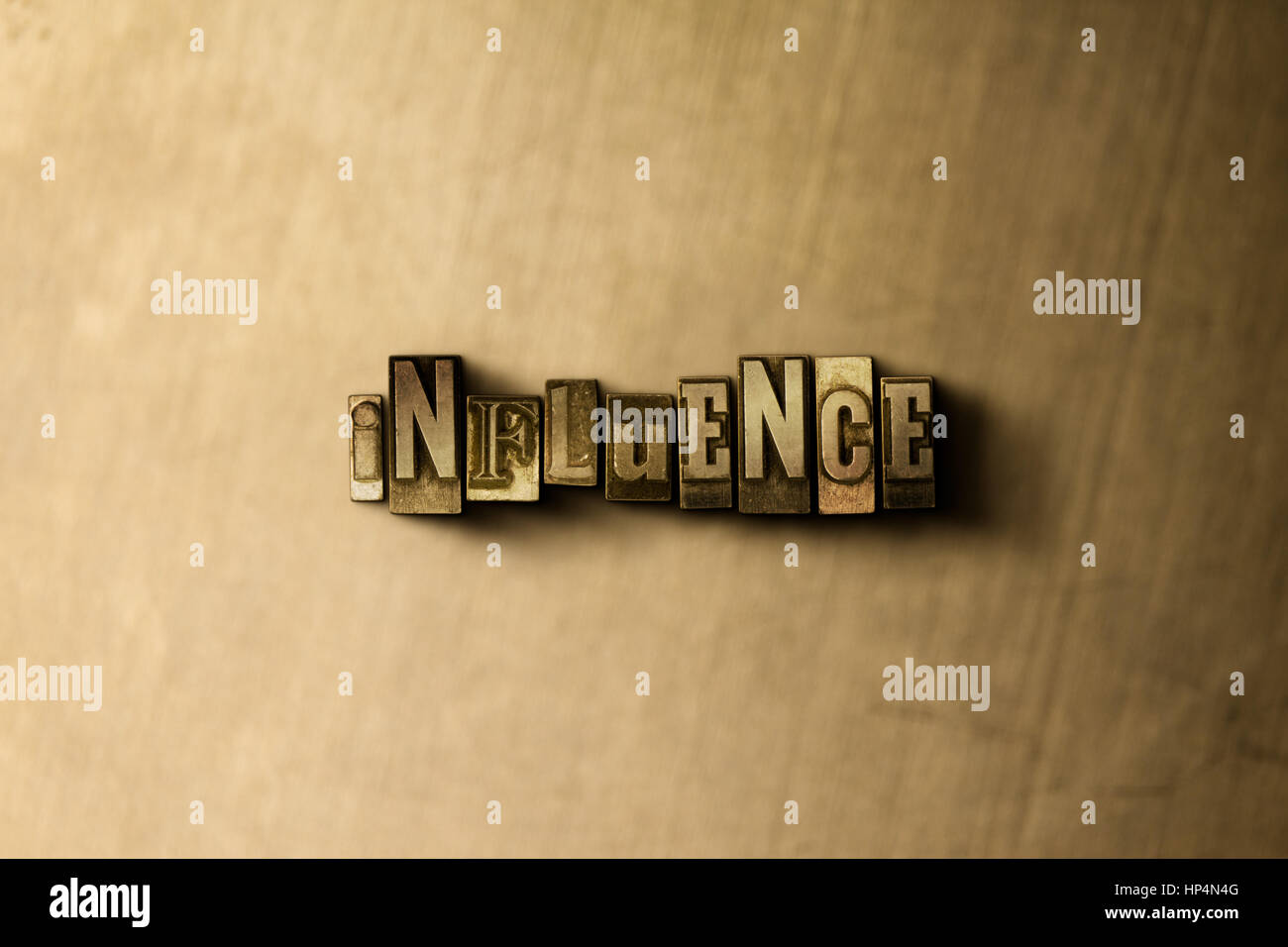INFLUENCE - close-up of grungy vintage typeset word on metal backdrop. Royalty free stock illustration.  Can be - Stock Image