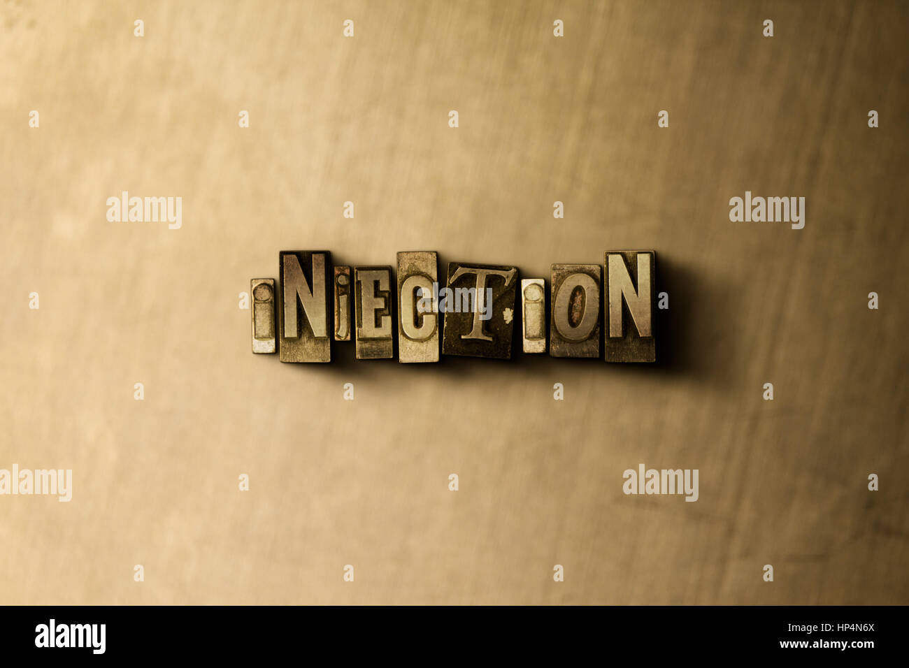 INJECTION - close-up of grungy vintage typeset word on metal backdrop. Royalty free stock illustration.  Can be - Stock Image