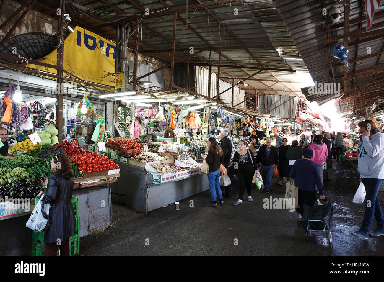 people shopping at carmel market, tel aviv, israel Stock Photo