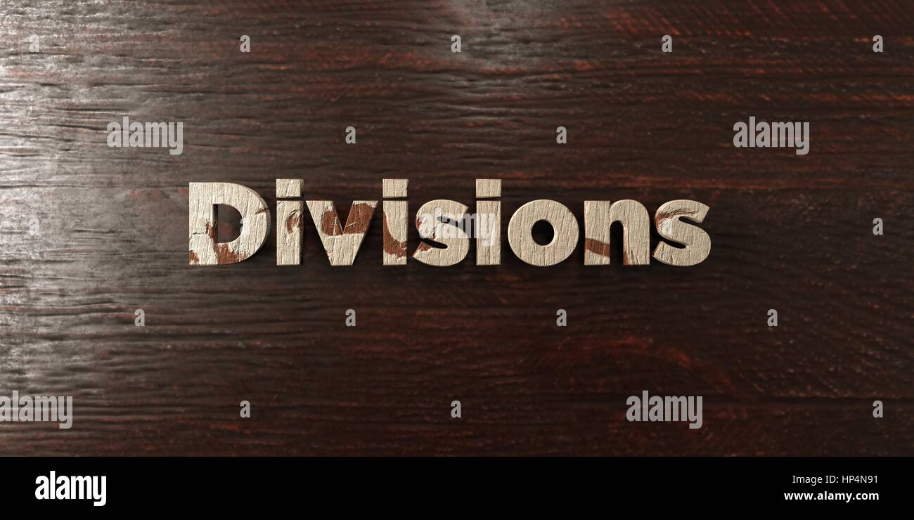 Divisions - grungy wooden headline on Maple  - 3D rendered royalty free stock image. This image can be used for - Stock Image