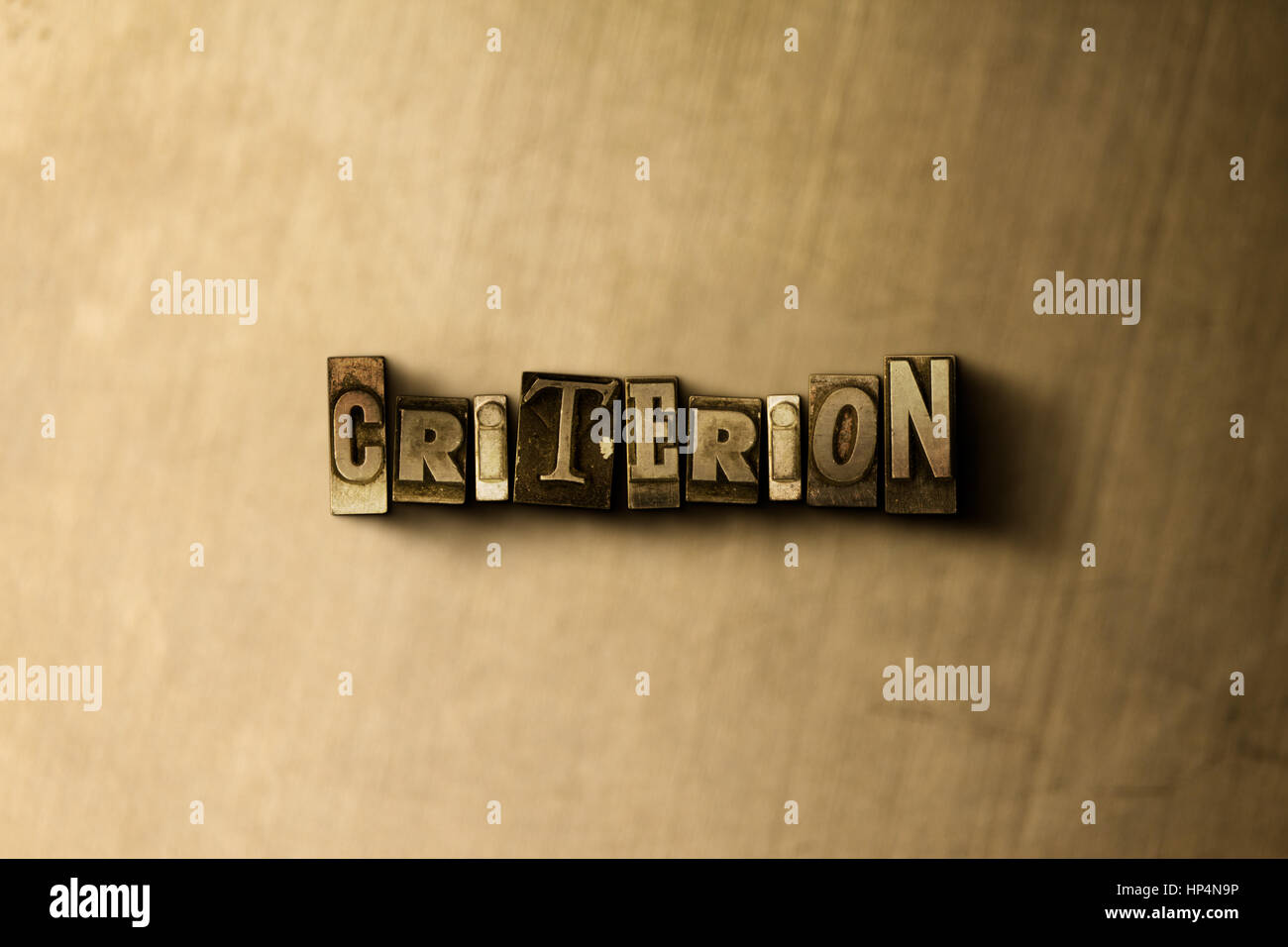 CRITERION - close-up of grungy vintage typeset word on metal backdrop. Royalty free stock illustration.  Can be - Stock Image