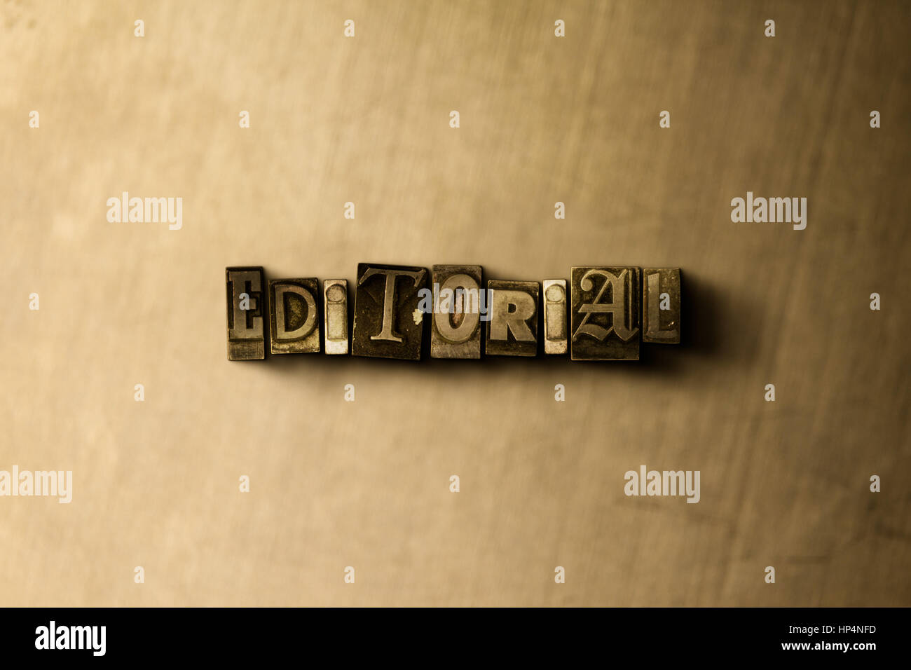 EDITORIAL - close-up of grungy vintage typeset word on metal backdrop. Royalty free stock illustration.  Can be - Stock Image