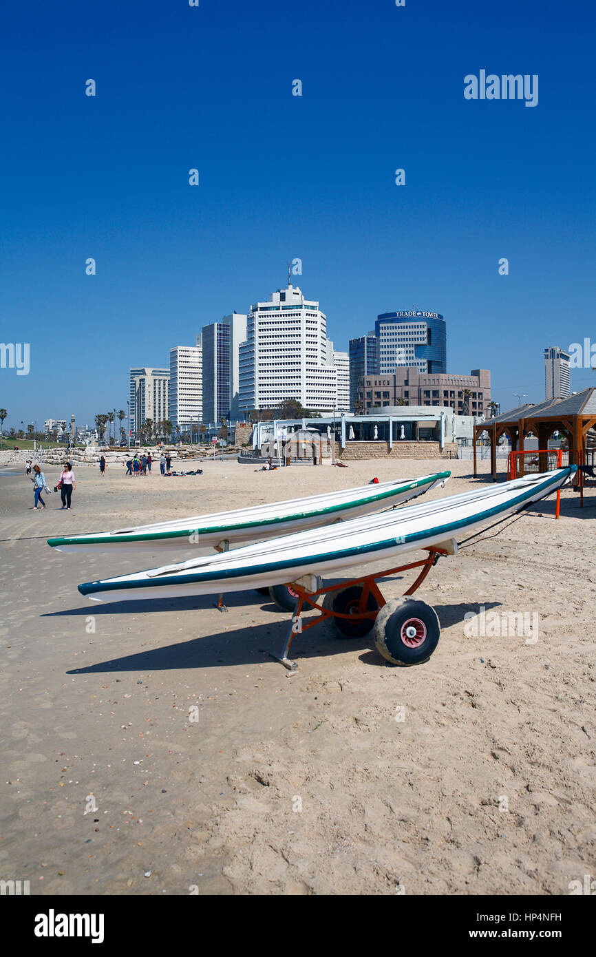 wakeboards parked at beach, tel aviv, israel Stock Photo