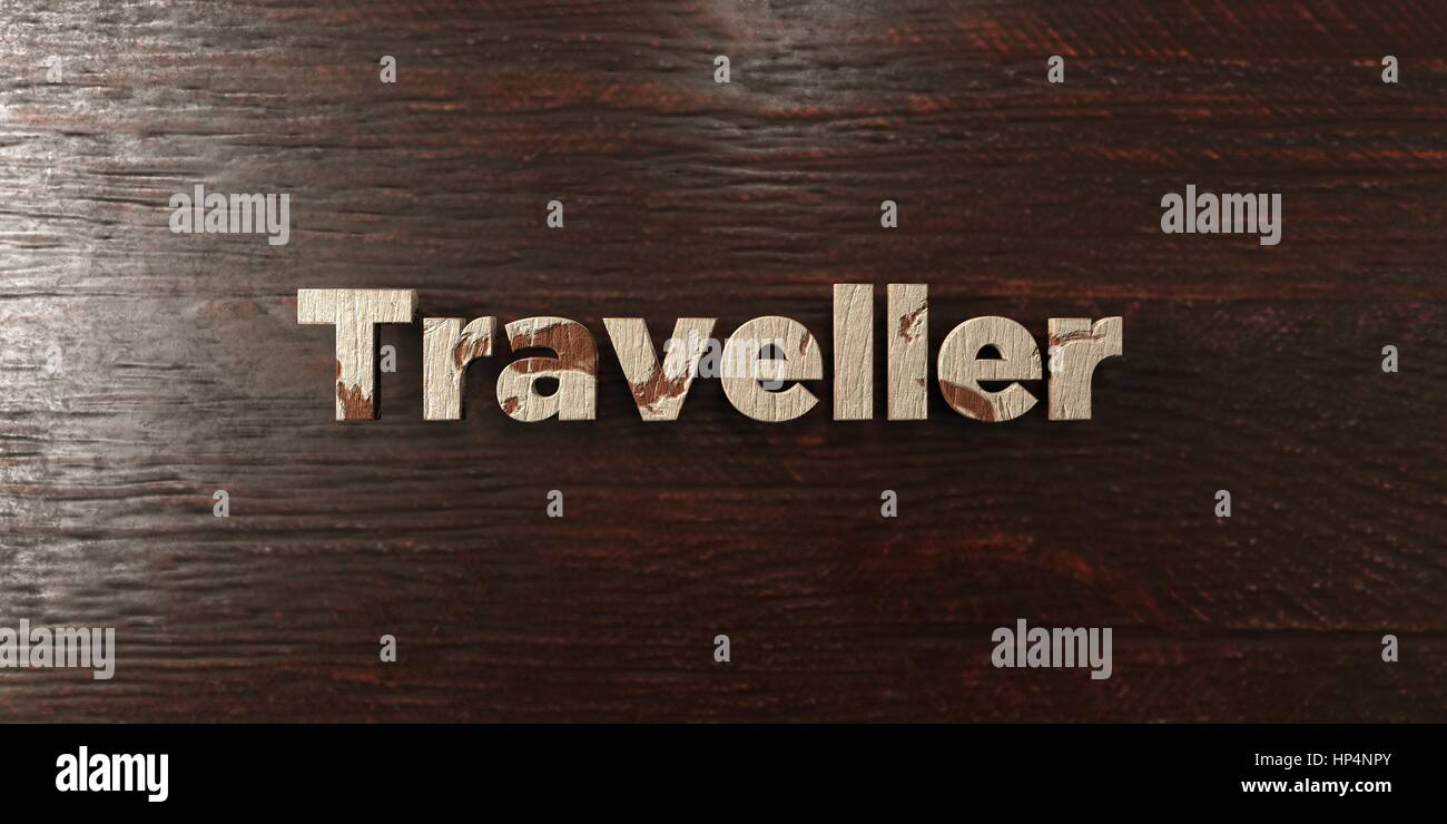 Traveller - grungy wooden headline on Maple  - 3D rendered royalty free stock image. This image can be used for - Stock Image