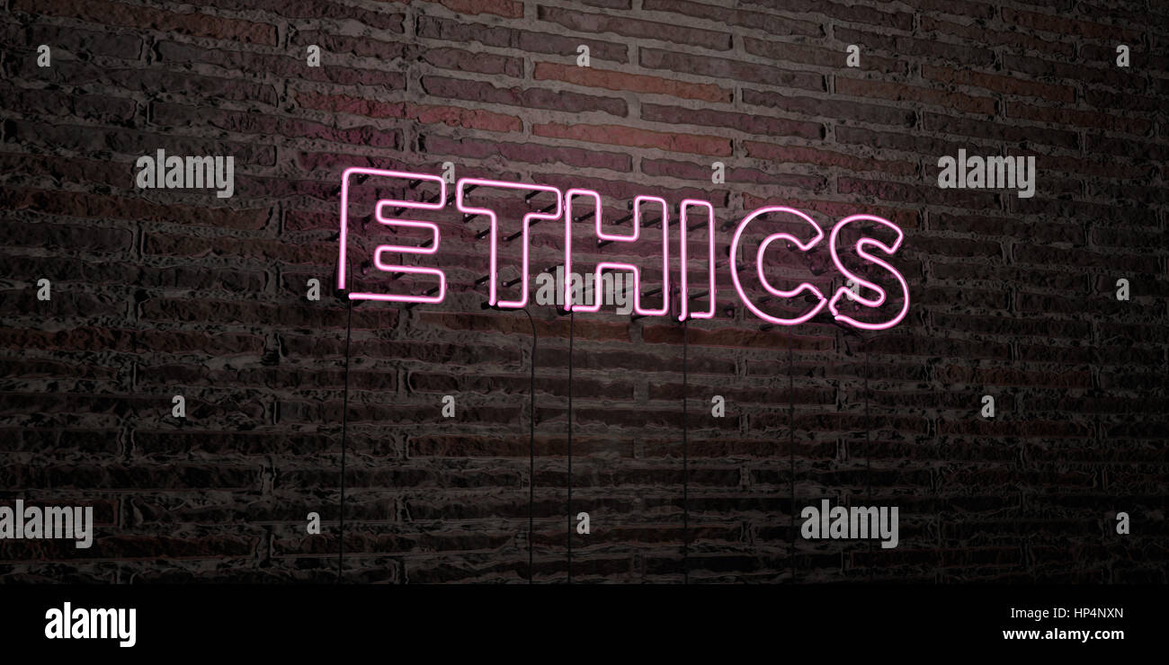 ETHICS -Realistic Neon Sign on Brick Wall background - 3D rendered royalty free stock image. Can be used for online - Stock Image