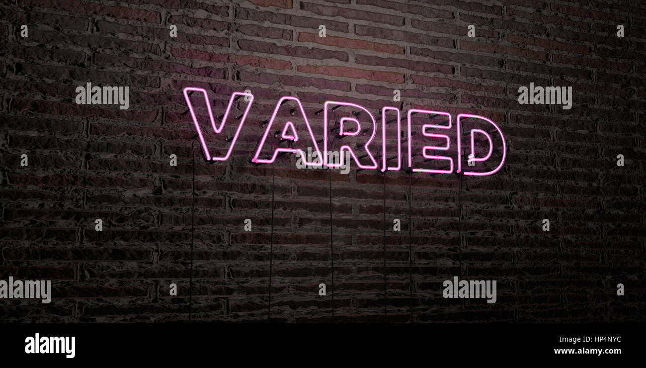VARIED -Realistic Neon Sign on Brick Wall background - 3D rendered royalty free stock image. Can be used for online - Stock Image