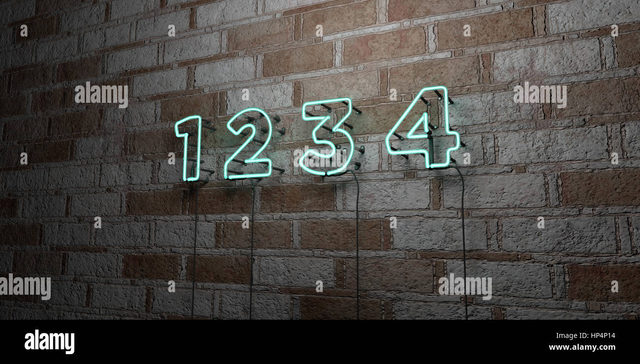 1 2 3 4 - Glowing Neon Sign on stonework wall - 3D rendered royalty free stock illustration.  Can be used for online - Stock Image