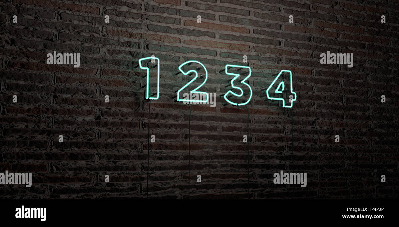 1 2 3 4 -Realistic Neon Sign on Brick Wall background - 3D rendered royalty free stock image. Can be used for online - Stock Image