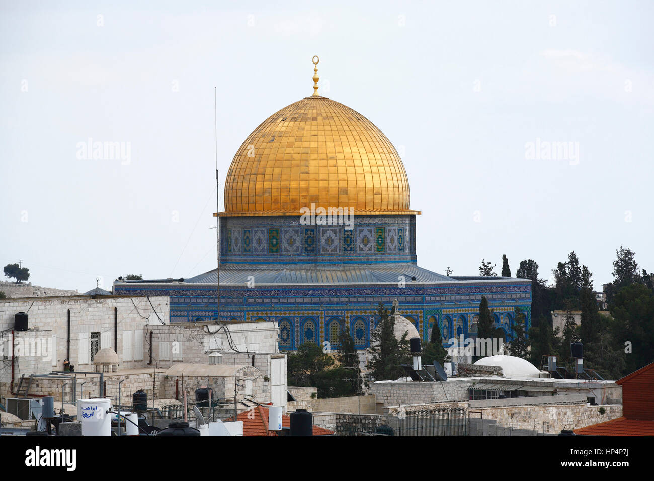 islamic shrine dome of the rock at tempel mount, old city, jerusalem, israel Stock Photo